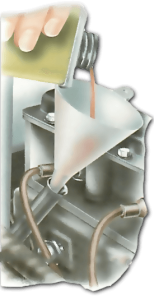 Use a clean funnel and fill slowly. Check the level to avoid overfilling