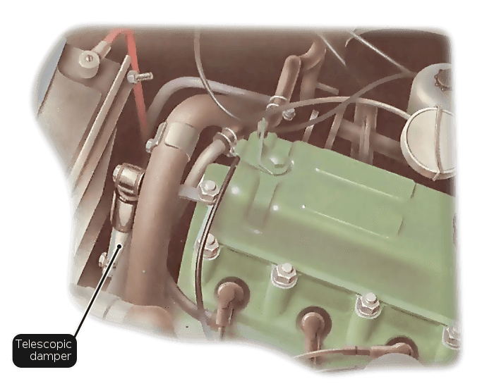 A telescopic damper mounted between the engine and a long bracket running from the front to the rear of a transverse engine compartment
